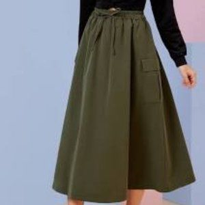 Shein Army Drawstring Waist Flap Pocket Skirt